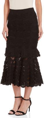 Carolina Herrera Black Lace Tiered Midi Skirt