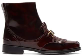 Tod's Gomma Fringed Patent Leather Ankle Boots - Womens - Dark Red