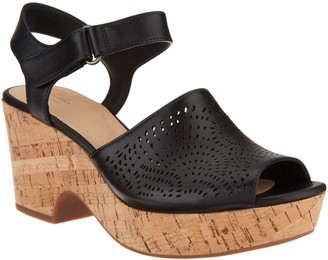 Clarks Artisan Perforated Leather Wedge Sandals - Maritsa Nila
