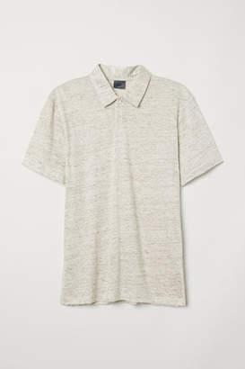 H&M Linen-blend Polo Shirt - Beige