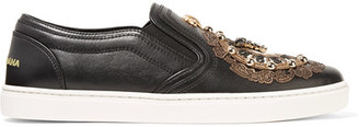 Dolce & Gabbana - Embellished Leather Slip-on Sneakers - Black $1,295 thestylecure.com