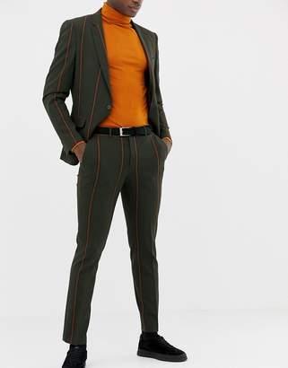 Asos DESIGN skinny suit PANTS in khaki pinstripe