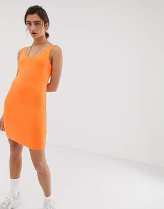 Weekday bubble bodycon jersey dress in neon orange