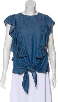 Frame Ruffle-Accented Denim Blouse w/ Tags