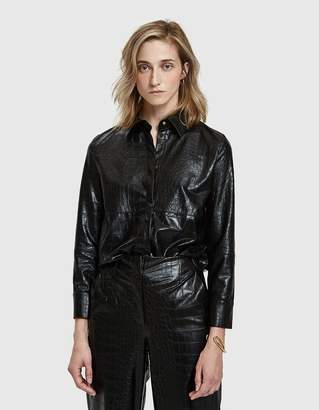 Nanushka Naum Croc-Embossed Vegan Leather Shirt