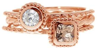 Savvy Cie Morganite Crystal Detail Textured Stacking Rings - Set of 3