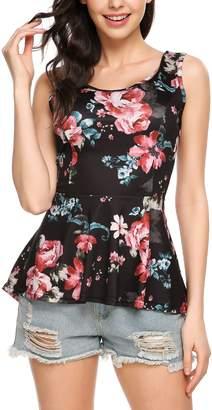 Meaneor Women Lightweight Floral Print Sleeveless Tunic Babydoll Tops XXL