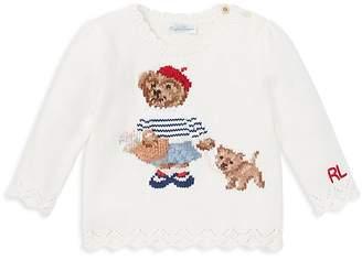 Ralph Lauren Girls' Paris Bear Sweater - Baby