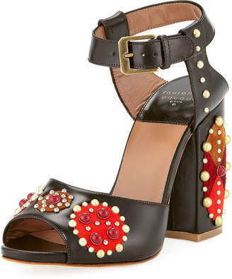 Laurence Dacade Rosemary Studded Leather Patchwork Sandal