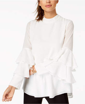 Alfani Textured Tiered-Sleeve Top