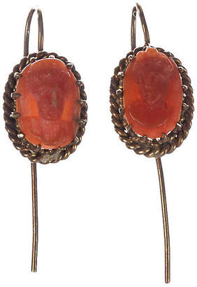 One Kings Lane Vintage Victorian Red Coral Cameo Drop Earrings - Treasure Trove NYC