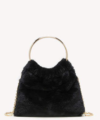 Sole Society Women's Loray Clutch Faux Fur Black Polyester From