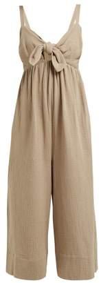 Loup Charmant Triton Tie Front Crinkle Cotton Jumpsuit - Womens - Khaki