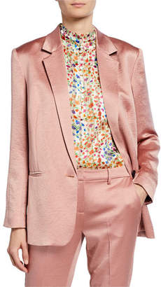 BA&SH Darcy One-Button Satin Jacket