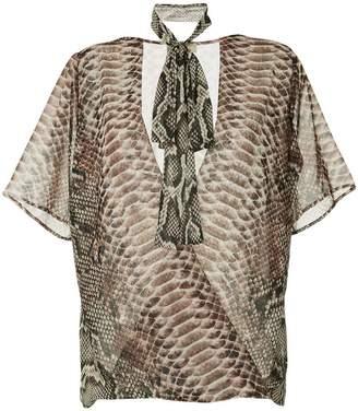 Elie Saab python print silk overlap top