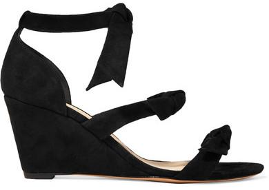 Alexandre BirmanAlexandre Birman - Lolita Anabela Bow-embellished Suede Wedge Sandals - Black