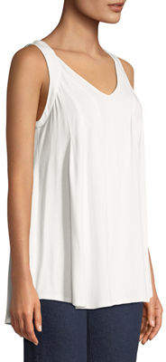 Joan Vass Draped Scoop-Neck Tank