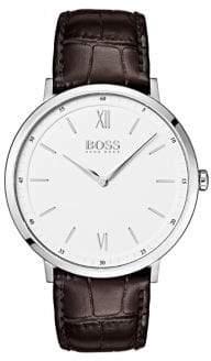 HUGO BOSS Essential Ultra Slim Logo Stainless Steel Leather Bracelet Watch