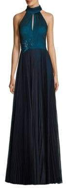 Kay Unger Pleated Halter Gown