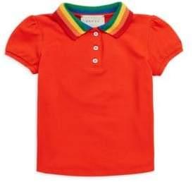Gucci Little Girl's& Girl's Ranbow Collar Polo