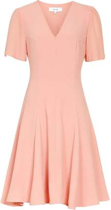 Reiss Natalia - V-neck Fit And Flare Dress in Pale Pink