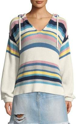 Frame Striped Dropped-Shoulder Hooded Sweater