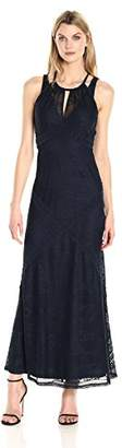 London Times Women's Sleeveless Lace Maxi Dress