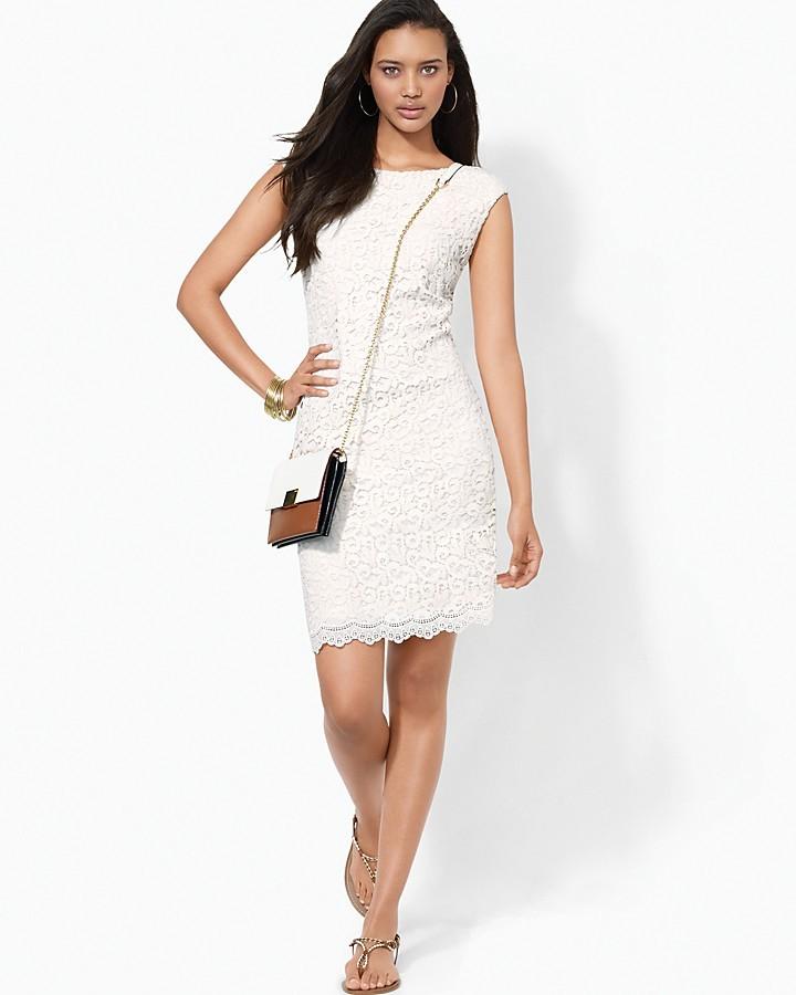 Lauren Ralph Lauren Crocheted Lace Boatneck Dress