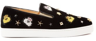 Christian Louboutin Miss Academy Crest Embroidered Velvet Trainers - Womens - Black Multi