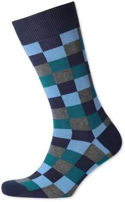 Charles Tyrwhitt Blue Multi Check Socks Size Large