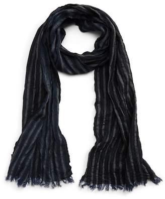John Varvatos Crinkle Stripe Wool Scarf