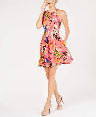 Vince Camuto Floral Halter Fit & Flare Dress