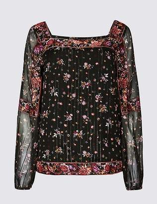 Marks and Spencer Floral Print Square Neck Puff Sleeve Blouse