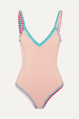 Kiini Luna Crochet-trimmed Swimsuit - Beige