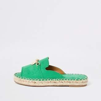 River Island Green espadrille peep toe sandals