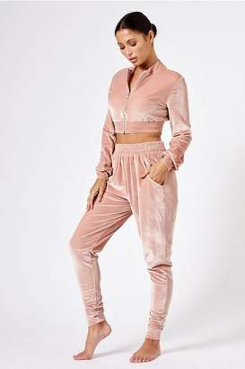 Club L Womens **Velour Ruched Joggers By London