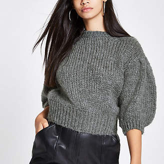 River Island Dark grey knit cropped sweater