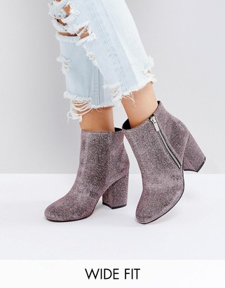 ASOS REGAN Wide Fit Kitten heel Ankle Boots $56 thestylecure.com