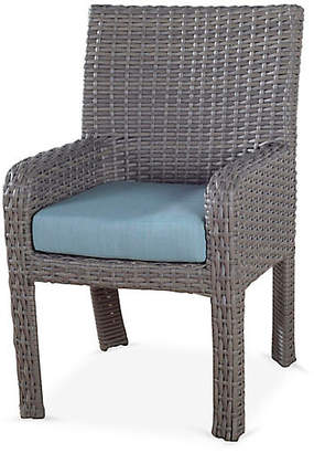 Tropez St. Wicker Dining Armchair - Gray/Blue - South Sea Rattan