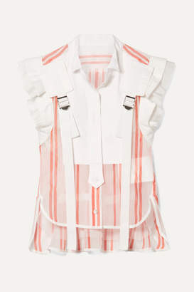 Sacai Buckled Paneled Striped Cotton-blend Top - Red