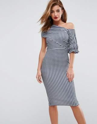 ASOS Textured Gingham Ruffle Sleeve Midi Dress $60 thestylecure.com