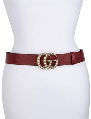 Gucci Pebbled Leather Belt w/ Pearlescent Beads, Black/Cream $650 thestylecure.com