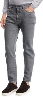 Ermenegildo Zegna Straight-Leg Stretch-Denim Jeans, Light Gray