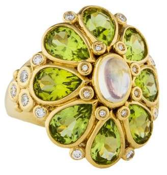 Temple St. Clair 18K Peridot, Moonstone & Diamond Blossom Ring