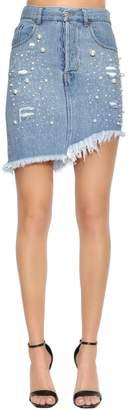 Embellished Destroyed Cotton Denim Skirt