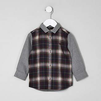 River Island Mini boys navy contrast check shirt