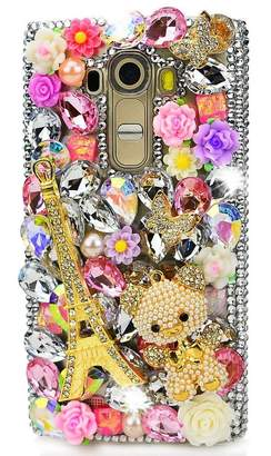LG Electronics KAKA Aristo Case,LG Risio 2 Case,LG Phoenix 3/Fortune/Rebel 2 LTE/K8 2017 Case, Luxurious 3D Handmade Sparkly Crystal Bling Cover Hybrid Drop Bumper Protection Case Faceplate