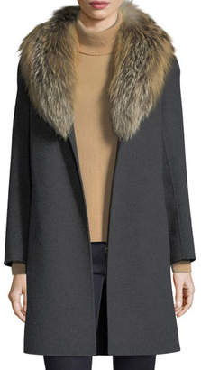 Neiman Marcus Luxury Double-Face Cashmere Coat w/ Fox Fur Collar