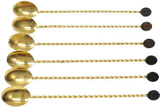 One Kings Lane Vintage Gold-Plated Iced Coffee Spoons - Set of 6 - Rose Victoria