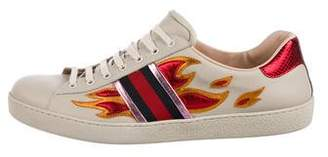 Gucci Ace Flame Ayers-Trimmed Sneakers w/ Tags